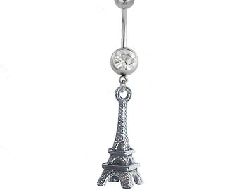 Belly Button Ring EIFFEL TOWER Paris Clear Gem 14g Stainless Steel Navel Piercing Body Jewelry