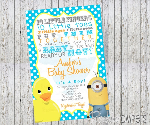 Rubber Duck & Minion Inspired Baby Shower Invitation