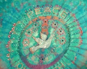 BLEU Peace On Earth Hippie Recycled Cotton Tshirt Size Small