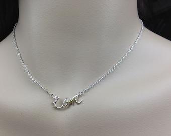 Sterling silver LOVE necklace. Bridesmaids Necklace. Bridesmaids Gift. Simple Necklace. Everyday Necklace. Friendlship