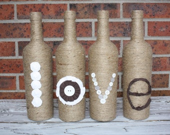 Tan, Brown and White, Decorated, Repurposed Wine Bottles,  Home Decor, Wine Bottle Love Decor, Love Sign