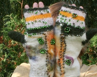Mittens felted for women from wool,silk crochet