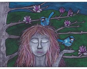 Blue Wren Lady. Illustration print, archival print, wall art.