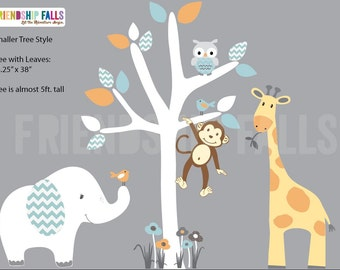 nursery Jungle Decal, elephant Wall Decal, giraffe decal, Nursery Wall Decal, Friendship Falls XXL Branch Tree Set - Nemo Scene