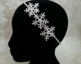 Silver Diamante Crystal triple 3 snowflake diamante statement bridal side hair band