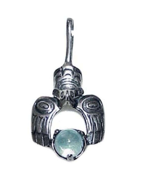 Vintage Sterling PENDANT American Eskimo Totem Design of an Eagle holding Moonstone