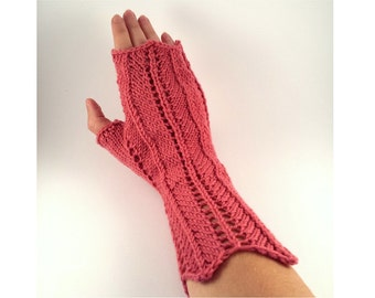 Lace Wrist Warmers For Women, Hand Knit Candy Pink Gloves Lacy Chevron, Choose From 5 Colors.