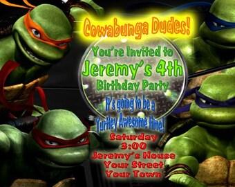 Teenage Mutant Ninja Turtles Birthday Party Invitation Card TMNT Invitation