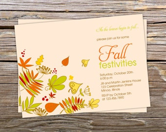 Fall Festivities - Autumn Thanksgiving Dinner Party Invitation