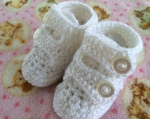 Crochet Baby Boy Double Strap Booties, Christening Baby Shoes