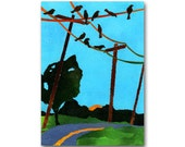 "Early Risers - Birds on a Wire - Nostalgia CARD or PRINT - ""Share the Memories"" Collection - Home Decor - Kitchen Art Print (CMEM2013014)"