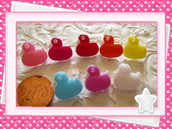 0: )- CABOCHON -( Duck Rainbow color Buttons