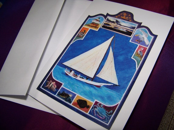 5 blank Nautical Note Cards, Chesapeake Bay Note Cards, paper goods
