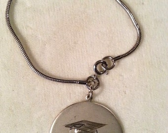 Vintage Sterling Silver Graduation Charm Bracelet