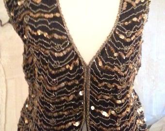 Gold Sequins on Black Silk Vest