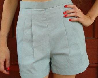 Mint 40s Shorts// Linen High Waisted Shorts