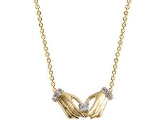 Hands 14k Solid Gold Necklace