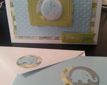 4 handmade Thank You cards from baby boy or girl with baby elephants