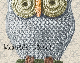 FAvorite Owl Potholder, Vintage Crochet Pattern, INSTANT DOWNLOAD PDF