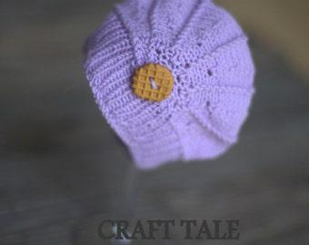 Newborn photo prop - merino cookie light violet poppy hat