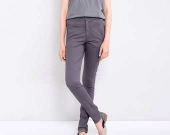 Dark Grey Pants, Skinny Pants, Women Trousers, Long Cotton Pants
