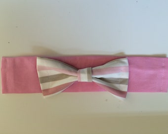 Dog Bow Tie - Pink and White Stripe