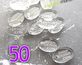 Custom Jewelry Tags - 50 pcs, oval shaped, clear, choose your text, engraved