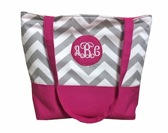 Monogrammed Initals Gray Chevron Tote With Color of Choice