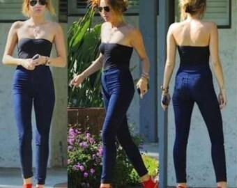 Vintage Inspired High Waist Dark Denim Jeans