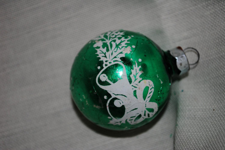 Green vintage glass christmas ornament