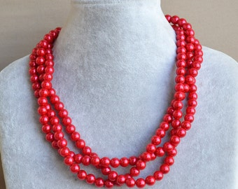 Red Pearl Necklace,3 Strands Pearl Necklaces,bridesmaid necklace,Jewelry,round pearl,gift,Wedding Necklace