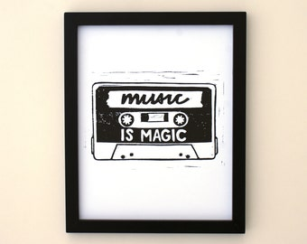 Music is Magic 8x10 black and white print