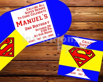 Super Man inspired Invitations. Handmade. Personalizaed.