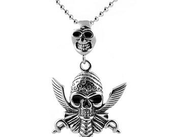 Buccaneer Double Skull Pendant Necklace