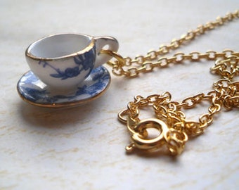 Alice in Wonderland Blue Floral Teacup Necklace, Gold, Tea cup, Flower, Tea Party, Whimsical