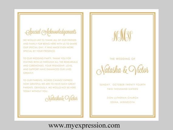 DIY Wedding Program Template BiFold Gold Monogram With Border