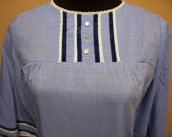 Now 1/2 off Vintage Blue 60s Shift Dress with Bell Sleeves Mad Men