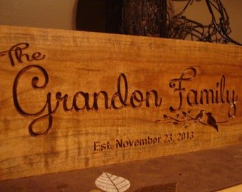 Family Name Sign Nature inspired 18 x 7 Welcome Sign Family Established Sign Personalized Custom Bridesmaid Groomsman Gifts Benchmark Signs