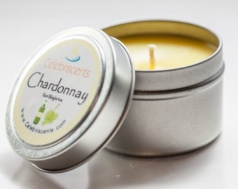 CHARDONNAY scented soy candle perfect for any occasion.  Same white grapes, woodsy chardonnay aroma poured in charming tin-container.