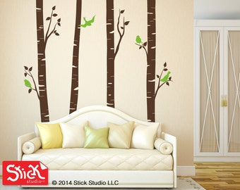 tree wall decal, birch tree tdecal, forest wall decal, tree decal, bedroom wall decal, tree wall sticker, wall decal, living Room Decal