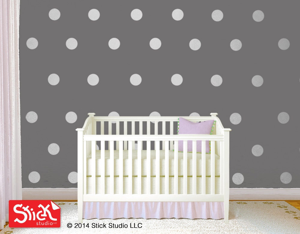 polka dot vinyl decals silver polka dot wall decal polka. Black Bedroom Furniture Sets. Home Design Ideas