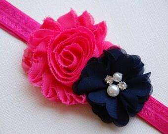 Hot Pink and Navy headband, Baby Headband, shabby chic headband, hair bows, hard headband, hot pink and navy, toddler headband, shabby baby