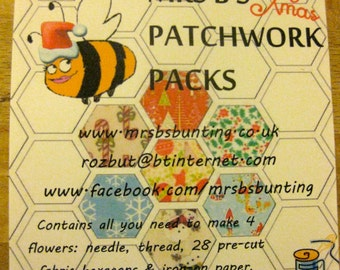 Mrs B's Christmas Patchwork kit…all you need to make 4 beautifully festive flowers/stars.