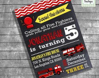 Firemen birthday invitation firefighter party invite fire truck fire engine kids fireman chalkboard digital printable invitation 13105