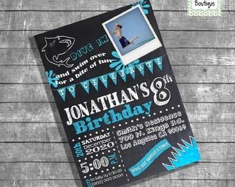 Birthday Pool party invitation pool shark party invite summer pool shark party invitation photo invite digital printable invitation 13167
