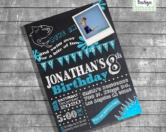 shark bite invite  etsy, party invitations