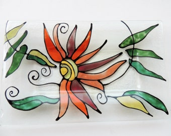 fused glass plate,hand painted plate,glass plate,home decor,internal decor,internal design,home design