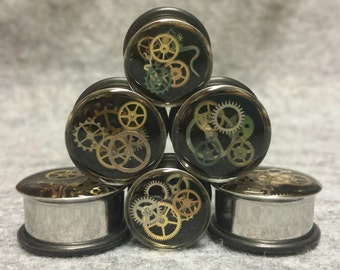 "Black Steampunk Plugs 9/16"" (14mm), 5/8"" (16mm), 3/4"" (19mm), 7/8"" (22mm), 1"" (25mm), 28mm, 32mm, 35mm, 38mm, 42mm, 45mm, 48mm, 51mm"