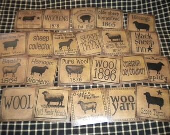 "Set of (22) 3"" Sheep Prim Pantry Labels"