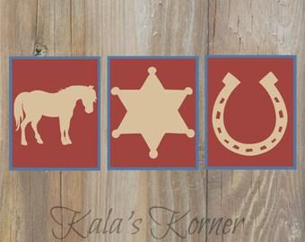 Cowboy Nursery Art, Cowboy Wall Art, Horse Nursery Art, Boys Nursery , Playroom Wall art, Children Art, Cowboy print set